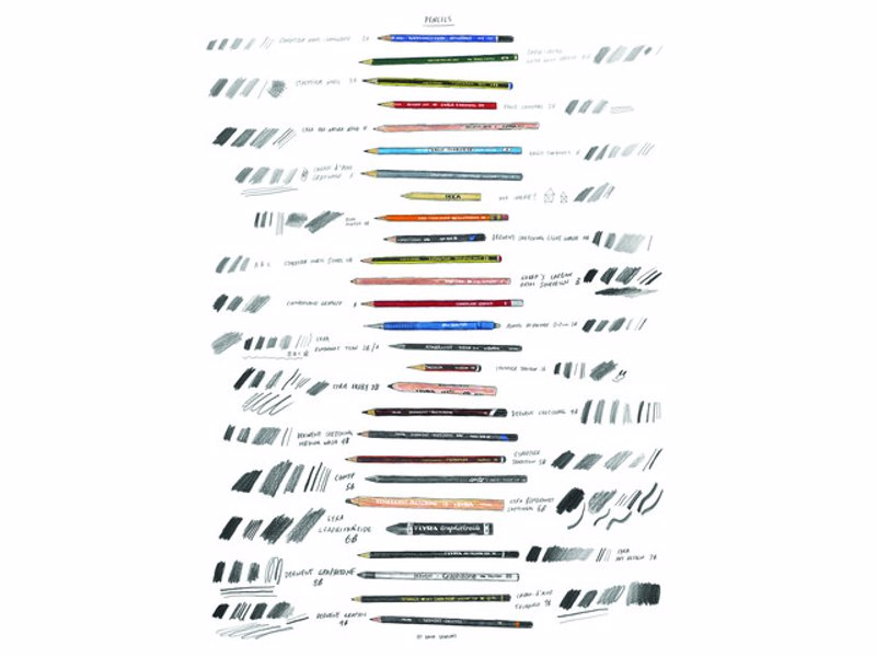 Pencils Print By David Sparshott - David Sparshott's pencils with their pencil lines.