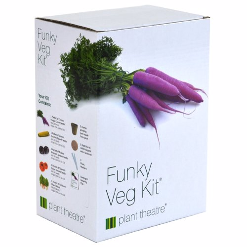 Plant Theatre Funky Veg Kit - Grow purple Carrots, Red Brussells Sprouts, Stripy Tomatoes, Yellow Zuchinni & Multi Coloured Swiss Chard