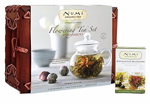 Numi Organic Teapot and 6 Flowering Tea Gift Set - When steeped in hot water, these rare Leaves of Art slowly blossom into a bouquet of breathtaking shapes and exquisite flavors