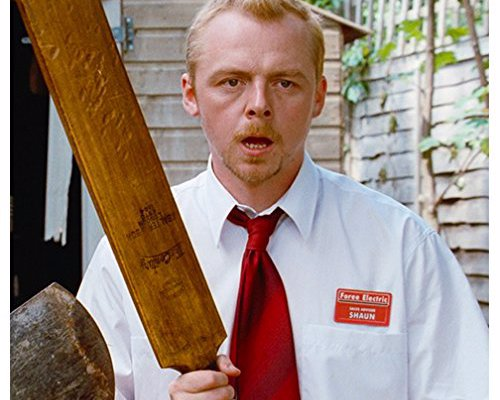 Signed Movie Memorabilia - Autographed Shaun of the Dead cricket bat and and many more movie momentos