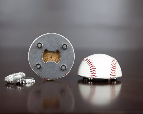 Baseball Bottle Opener - A bottle opener made from half of a REAL Leather Baseball, with a magnetic back to stick to your fridge and catch bottle caps
