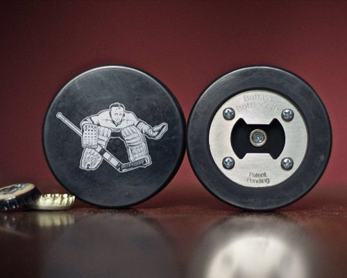 Real Hockey Puck Bottle Opener
