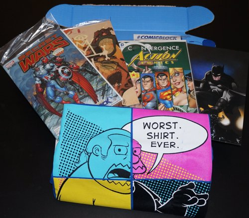 Gift Box For Comic Fans - A monthly mystery box delivered right to your door filled with fun and nerdy comic apparel, toys, and collectables