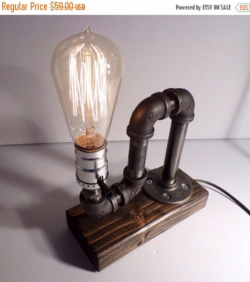 Industrial pipe lamp - Industrial style table lamp with a rustic vintage Edison bulb.