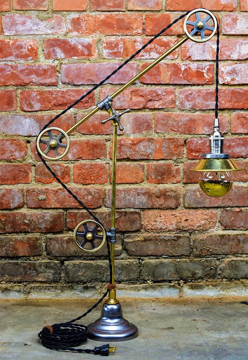Industrial Pulley Table Lamp