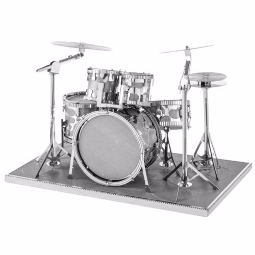 Drum Kit Metal Modelling Kit - Create a miniature metal model of a drum kit