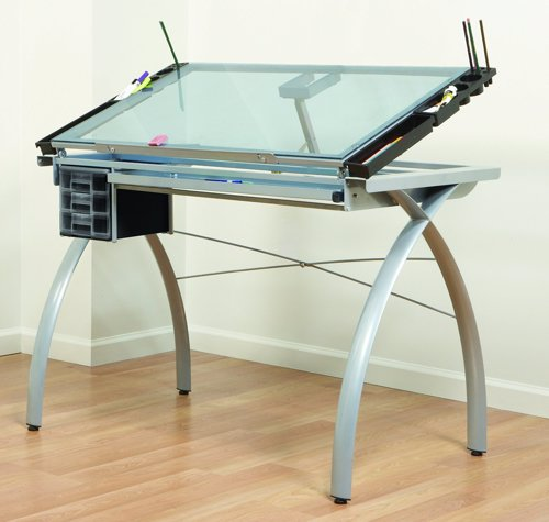 Glass Drafting and Crafting Table - Perfect multi-functional contemporary table, great for drafting, drawing, or crafting on its large tempered safety-glass work surface