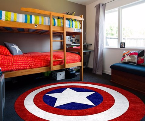 Captain America Rug - Captain America really likes his shield. So much so, that he's decorated his room with its design - including this rug