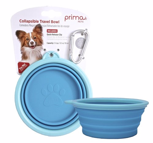 Dog Travel Bowl - This portable pet bowl is collapsible and folds down to less than 1/2 inch for easy storage or transport and pops back up for use