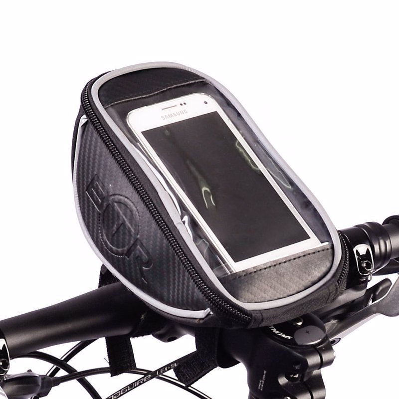 Handlebar Phone Holder and Bag - This handlebar mounted bag will hold your essentials while cycling as well as holding your phone so you can view maps and GPS