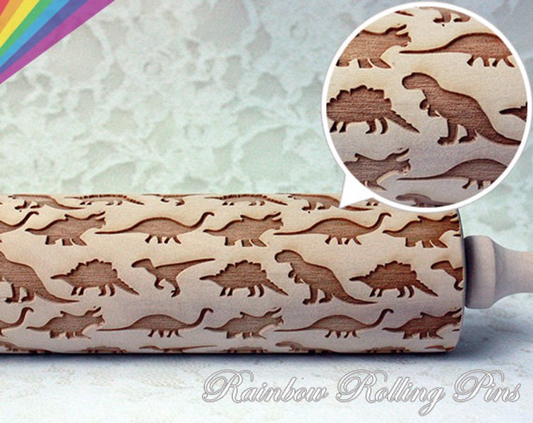 Embossed Dinosaur Rolling Pin - Emboss your cookies, pies, fondants with dinosaurs
