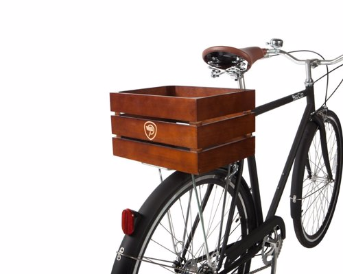 Retro Wooden Bicycle Cargo Crate - Carry your groceries or anything else in retro style as your cruise around town