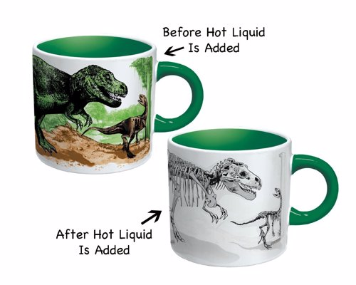 Disappearing Dino Mug - When you pour in a hot beverage, the dinosaurs transform into fossils in a museum exhibition