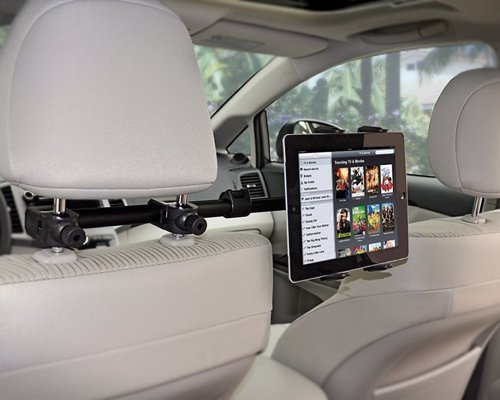 Car Headrest iPad Mount - Watch films on your tablet from the back seat, great for kids on long car journeys