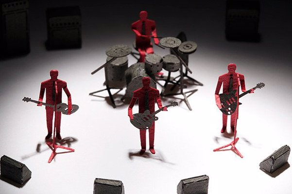 Rock Band Paper Model Set - Construct a miniature rock band diorama with this set of precut parts