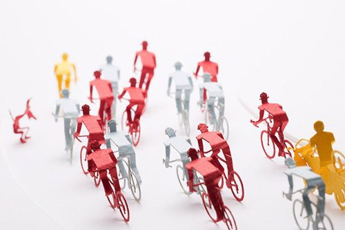 Cycle Race Paper Model Set - Construct a miniature Tour de France diorama with this set of precut parts