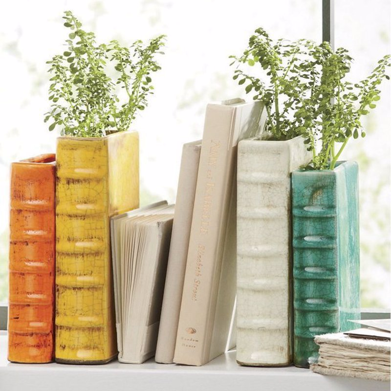 Terra Cotta Vase Bookends - Grow a little tree in your bookshelf by placing these cute terracotta bookend vases in between their repurposed cousins
