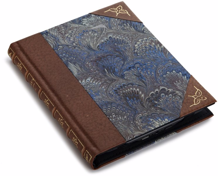 Hardback Book Kindle Cover - Leather and marbled Kindle covers make your eReader look like a good old hardback or leather journal