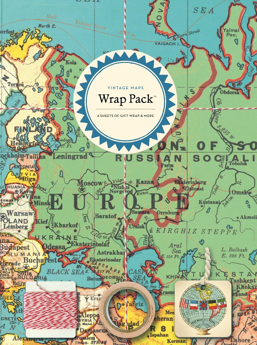 Vintage maps gift wrap pack expertly chosen gifts gumiabroncs Gallery