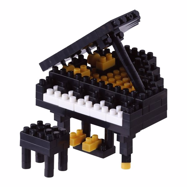 Nanoblock Grand Piano - Construct a tiny grand piano complete with a hinged top, individual seat and pedals