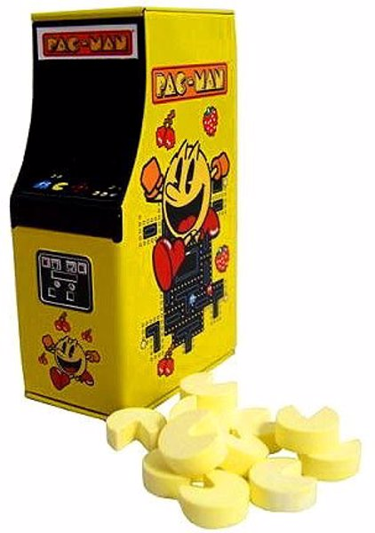 Pac-Man Arcade Candy Tin - A neat little arcade cabinet candy tin filled with Pac-Man candies