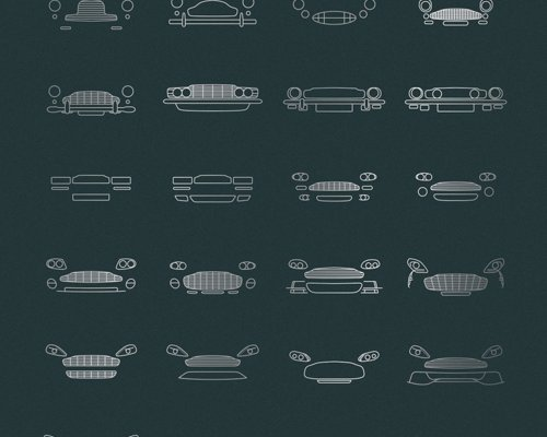 Auto Icon Prints - Minimalist art prints celebrating decades of world-leading design by Audi, Mercedes, Ferrari, Lamborghini, Porsche and more