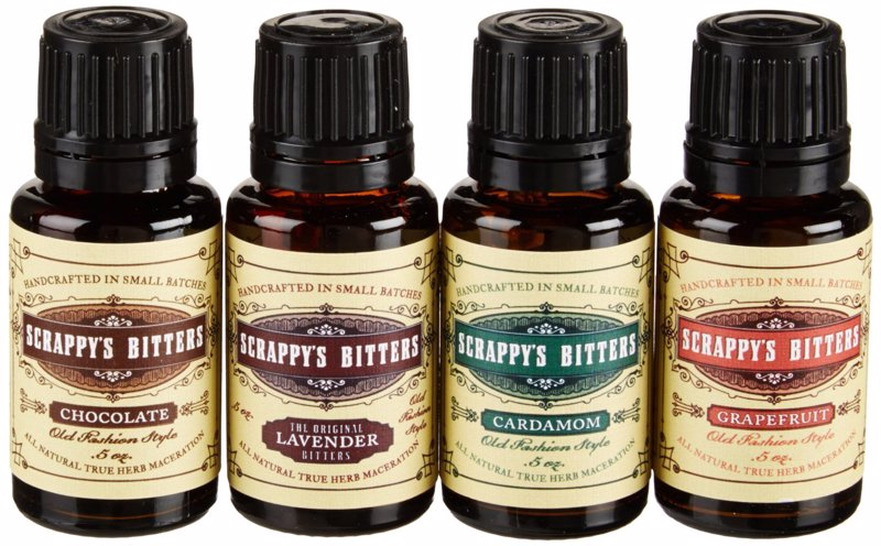 Scrappy's Exotic Bitters Gift Set - Lavender, Chocolate, Cardamom and Grapefruit bitters for cocktail crafters who want to try more exotic creations