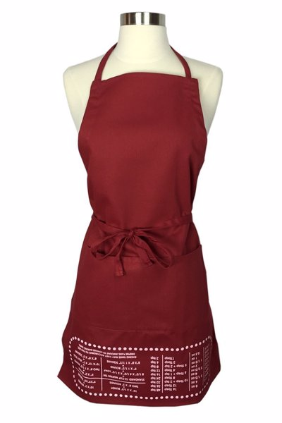 Cheat Sheet Baking Apron - Quickly switch out a muffin tin for a round cake pan or figure out how many tablespoons are in 1 oz with this helpful conversion apron