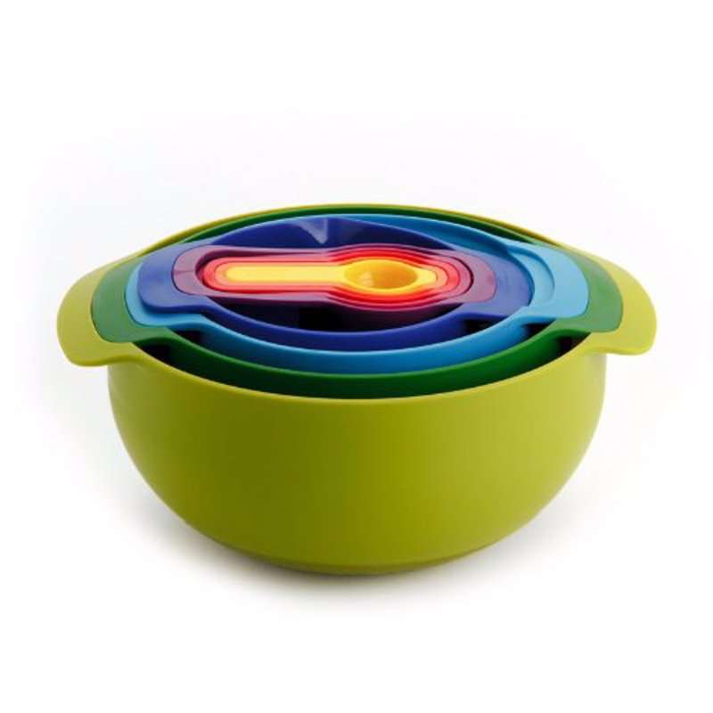 Joseph Joseph Nest Bowl And Measuring Set - Colorful and compact 9 piece kitchen measuring set, great for kitchens with limited space