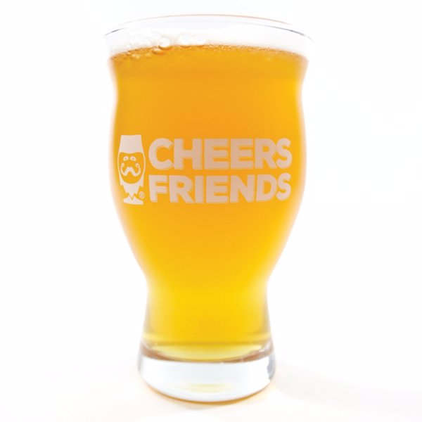 "CraftBeerd Glassware -  ""Cheers Friends"" - A beautiful, bold glass with a happy beer message"