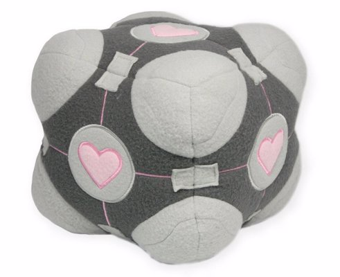 Weighted Companion Cube Plush - A squishy plush version of the lovable cube from the Portal video game