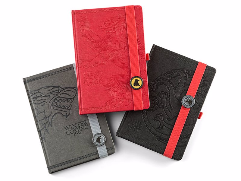Game of Thrones Journals - Smart notebooks featuring the house sigils of Lannister, Stark, and Targaryen