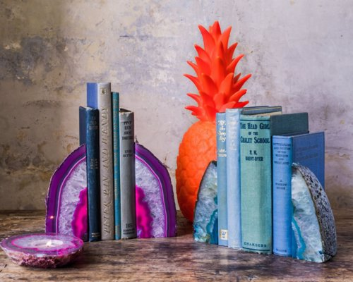 Agate Bookends - Stop the mounds of geology and science books falling off your shelf with these beauties
