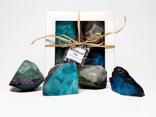 Handcrafted Soaps by RockHoundSoap - What better way to scrub away the dirt from a days digging than with these incredible geode shaped soaps