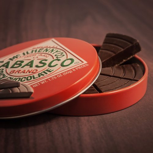 "Tabasco Spicy Dark Chocolate Wedges - Velvety smooth Dark Chocolate with a little Tabasco ""kick"" in every wedge"