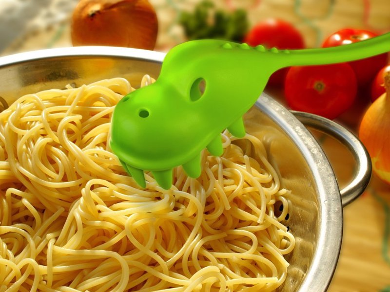 Pastasaurus Pasta Server - This pasta snaring dinosaur tool is cute, fun and totally top-rack dishwasher safe!