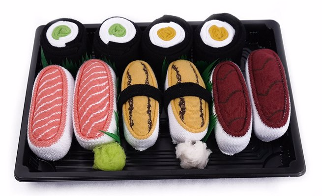 Sushi Socks Box - Colorful socks packed to look like cute sushi boxes