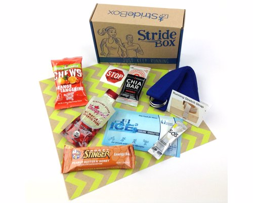 StrideBox – Subscription Box For Runners - A box of goodies for runners including nutritious snacks and fuel, body care items, and accessories
