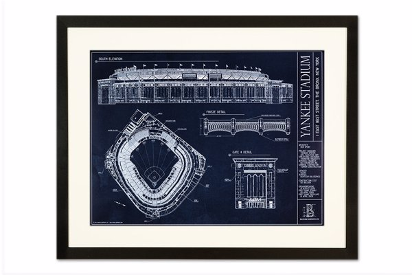 MLB Ballpark Blueprints - Fascinating blueprint artwork capturing the architectural detail of baseball stadiums, available as a print, framed or on canvas