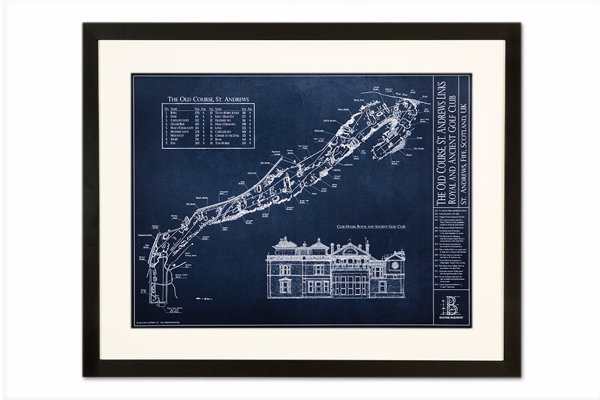 Golf Course Blueprint Artwork - Unique blueprint-style artwork inspired by golf courses from around the world, available as a print, framed or on canvas