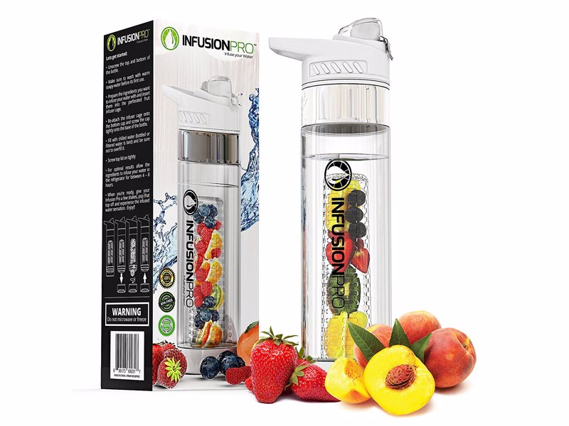 Infusion Pro Water Bottle - Stylish and easy to clean fruit infuser water bottle with a insulating neoprene sleeve