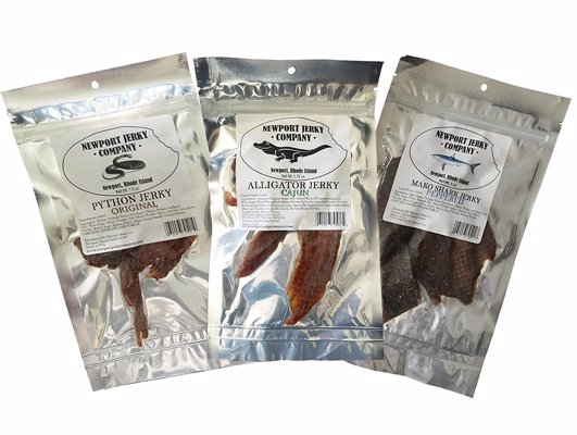 Exotic Jerky From The Newport Jerky Company - Adventurous eater? How about trying jerky made from hammerhead shark, python, snapping turtle, elk, kangaroo and more