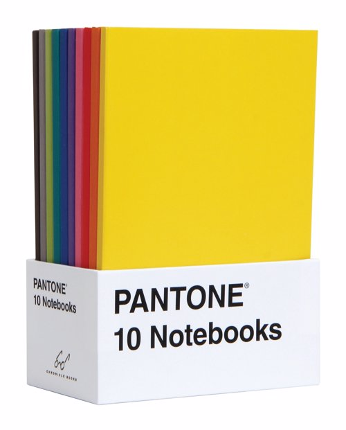 Pantone Notebooks - A set of 10 miniature journals featuring Pantone's iconic color chip design in ten sumptuous shades
