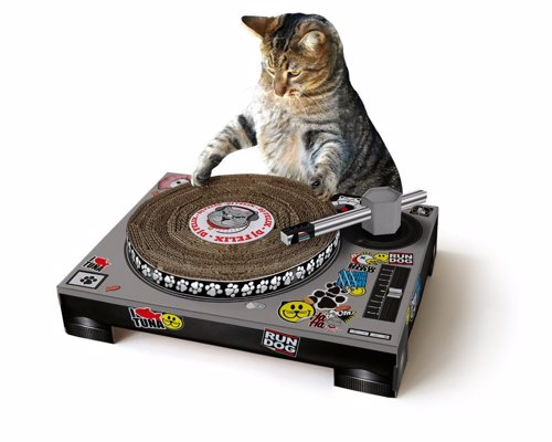 Cat Scratching DJ Deck - Cardboard, mixing deck-shaped cat scratching mat – with spinnable deck and poseable tone arm
