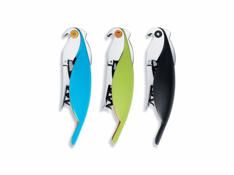 Alessi Parrot Corkscrew - The practical, pocket-sized sommelier corkscrew designed by Alessandro Mendini