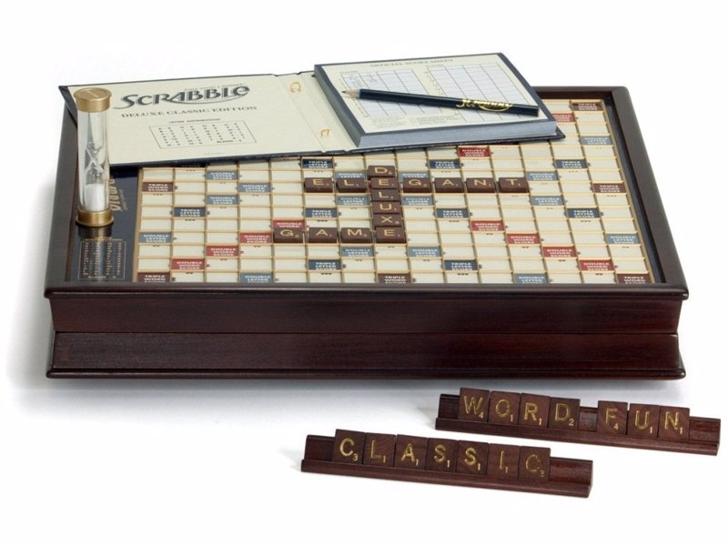 Premier Deluxe Scrabble - Beautiful vintage looking Scrabble set with a rotating board for fans of the classic word game