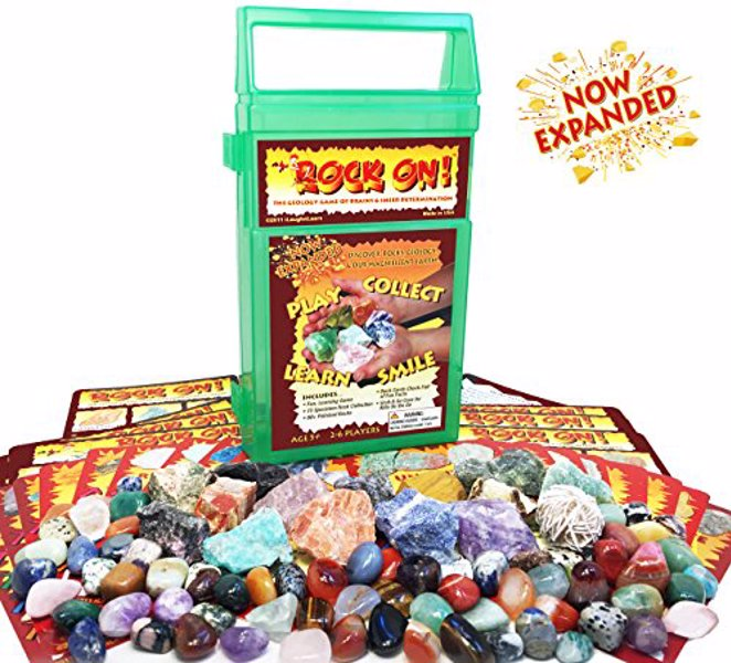 ROCK ON! Geology Game with Rock & Mineral Collection - Collect and Learn with STEM-based Educational Science Kit in Carrying Case - Amethyst, Rhodonite, Selenite Crystal, Sodalite and lots more