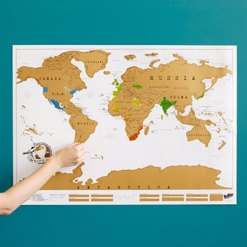 Scratch Map - A unique world map that allows you to record where you have traveled by simply scratching off the gold foil layer