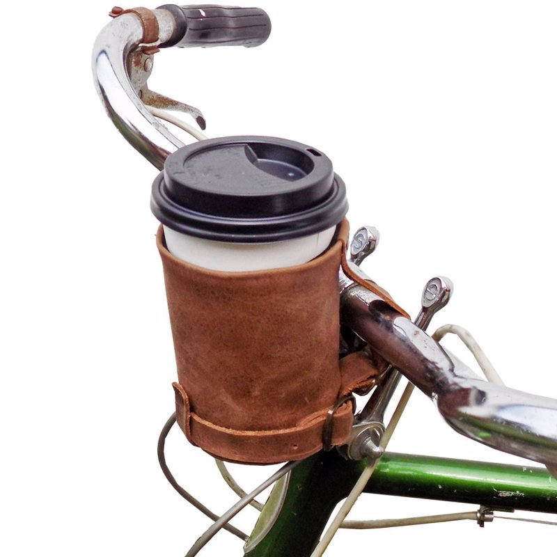 Leather Bike Cup Holder - Retro handmade holder for your coffee on the go