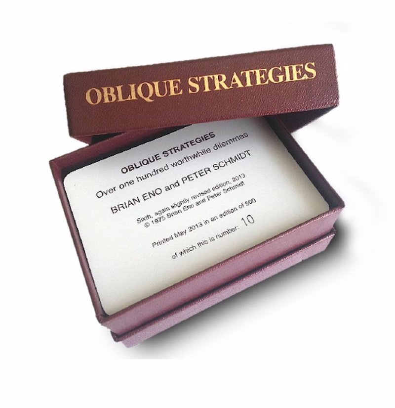 Brian Eno's Oblique Strategies - Creative thinking cards for musicians, famously used during the recording of David Bowie's Heroes